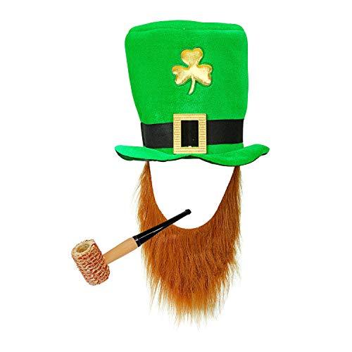 com-four® Leprechaun, Kobold Kostüme zum St. Patricks Day - Outfits und Accessoires für das grüne, irische Fest - Für Fasching, Fastnacht, Karneval, Parade, Motto-Party, Irish Pub (02-teilig - Set03)