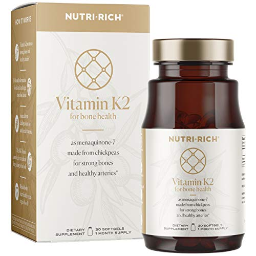 Vitamin K2 MK7 for Strong Bones & Healthy Arteries   Naturally Fermented from Chickpeas, Long-Chain MK-7, Gluten & Soy Free