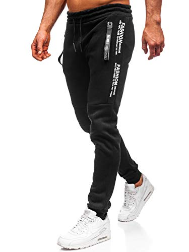 BOLF Herren Jogginghose Sporthose Trainingshose Jogger Sweathose Fitnesshose Jogpants Fußballhose Sweatpants Motiv Print Army Baumwolle Slim Fit Must JX8991 Schwarz XL [6F6]