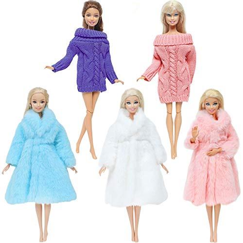 Topoloar 5 Set Mode Puppenkleidung Set Winter Outfits, 3 Stück handgefertigter weicher Pelzmantel+2 Stück lässiger Langarmpullover für 11,5 Zoll Barbie Girl Doll Kinderspielzeug, (5 Set)