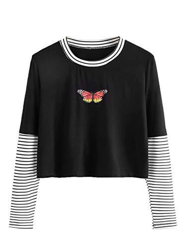 SweatyRocks Women's Color Block Butterfly Print Striped Long Sleeve...