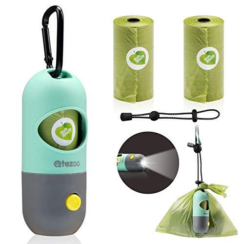 Dog Poop Bag Dispenser Builtin LED FlashlightDog Poop Bag Holder Pet Waste Bag Dispenser for Leash with 2 Leakproof Poop BagCarabiner Clip and Elastic Rope