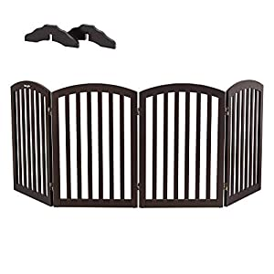 Bonnlo Wooden Folding Pet Gate Freestanding Barrier for Dogs Cats 4 Panels Doggy Kitty Safety Fence | Fully Assembled | Expands Up to 82″ Wide, 30″ High | Dark Brown | Foot Supporters Included