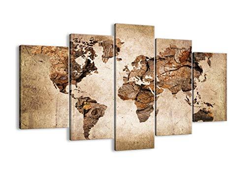 Cuadro sobre lienzo - Impresión de Imagen - mapa mundo moderno - 150x100cm - Imagen Impresión - Cuadros Decoracion - Impresión en lienzo - Cuadros Modernos - Lienzo Decorativo - EA150x100-3590
