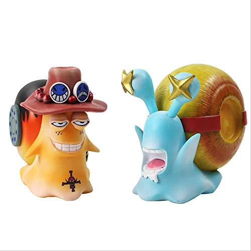 Ltong 2 stuks Anime One Piece Figure The Mushi Telefoon Fax Mashine Ruffy Ace Hoe Play House Cosplay Model Toys 11cm