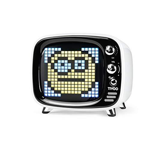 Divoom Tivoo Retro Bluetooth Lautsprecher - Pixel Art DIY Box, RGB programmierbar 16X16 LED, Unterstützung Android & iOS; TF/SD-Karte & AUX 3.9X3X3.2 Zoll (Weiß)