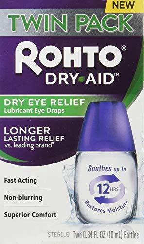 Rohto DryAid Eye Relief Lubricant Eye Drops, Twin Pack, Dry Eye Relief, 0.34 Fl...