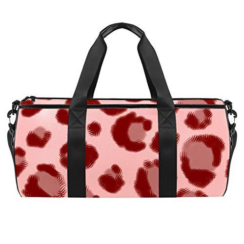 KAIXINJIUHAO 18' Sports Gym Bag, Travel Duffel bag with Wet Pocket Compartmentfor men women, Lightweight,Pink Leopard Print