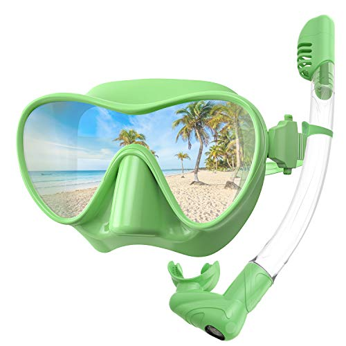 Rodicoco Snorkel Set Frameless Snorkel Goggles Foldable Snorkel Gear Detachable Snorkel Mask with 180Degree Panoramic View and Anti Fog Tempered Glass for Swimming Scuba Diving Snorkeling(Green, L)