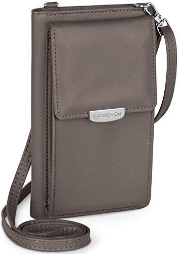 ONEFLOW Handy Umhängetasche Damen klein kompatibel mit Motorola und Lenovo - Handytasche zum Umhängen mit Geldbörse, Schultertasche Vegan Leder, Graphitgrau