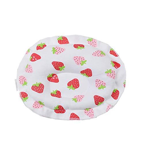 HSZW Recién Nacido Bebé algodón Redondo Fresa patrón diseño recién Nacido Almohada de Estilo, Almohada de algodón de Punto para bebé, Adecuado para bebé de 0 a 1 año de Edad