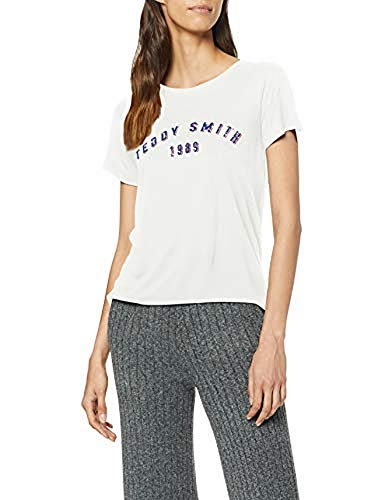 Teddy Smith T- TeRCia MC T-Shirt, Écru (Middle White 219), Small (Taille Fabricant:1/S) Femme