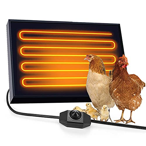 MLGB Chicken Coop Heater Wall Mounting Dog House Heater 100 Watts Far Infrared Radiant Heat Temperature Adjustable Safer Than Brooder Lamps Energy Efficient Pet Heater for Chicken, Dogs, Cats, Rabbits