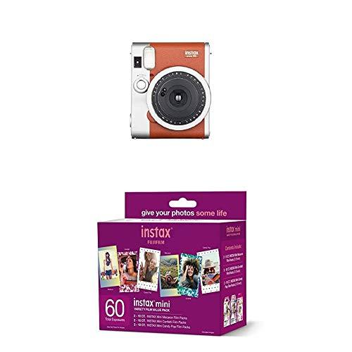 Image of the Fujifilm Instax Mini 90 Instant Film Camera (Brown) + w/60-pack