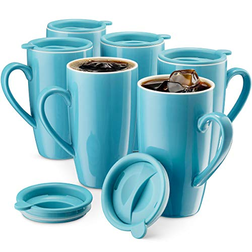 MITBAK 6-Pack Ceramic Coffee Mug Set with Lids (16-Ounce)   Large Blue Tumbler Mugs Great for Taking Your Coffee & Tea To-Go   Large Insulated Mug Set Excellent Choice for Camping, Travel & Office