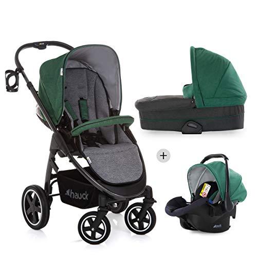 Hauck Soul Plus Trioset kompaktes Kinderwagenset bis 25 kg, mit Babywanne + Babyschale + wendbaren Sitz mit Liegefunktion + Beindecke, Becherhalter, höhenverstellbar, klein faltbar - grün