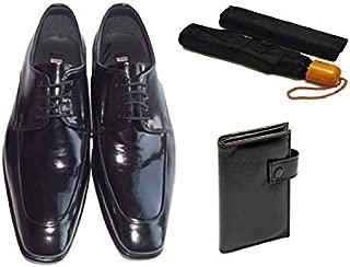 Eray Kundura Klasik Siyah Düz Erkek Ayakkabısı + Cüzdan + Şemsiye