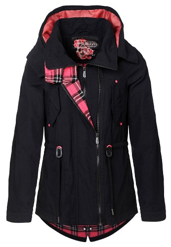 Sublevel Damen kurze Übergangs Jacke Trenchcoat Parka Style Kapuze schwarz M