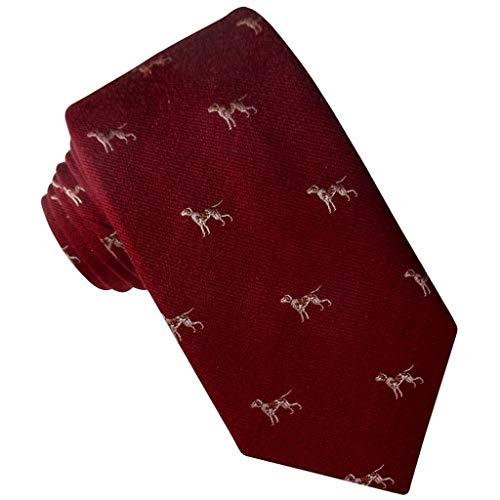 JOSVIL Corbata de lana. Corbata lana con estampado perros en color granate. Corbatas hombre.