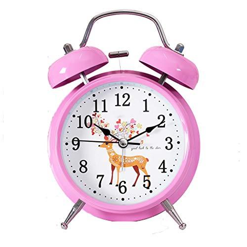 YULAN Lindo Reloj de Alarma Figura Animal Amor Posponer Doble Campana Mudo Luminoso Perezoso Cabeza de Cama Hermosa Personalidad Creativa Inicio 2 Color Opcional 11.5 CM * 5.5 CM * 16 CM