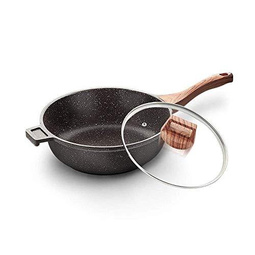 ZYING Sartenes y sartenes antiadherentes con tapa, cesta de freír y rejilla de vapor, sartén de cobre antiadherente con tapa, wok con tapa, (Size : Small)