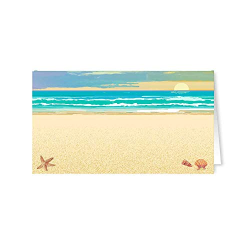 Stonehouse Collection Beach Name Place Cards - 25 Guest Seating Name Cards - Beach & Tropical Table Tents - Wedding Seating, Party Name Cards (Beach)