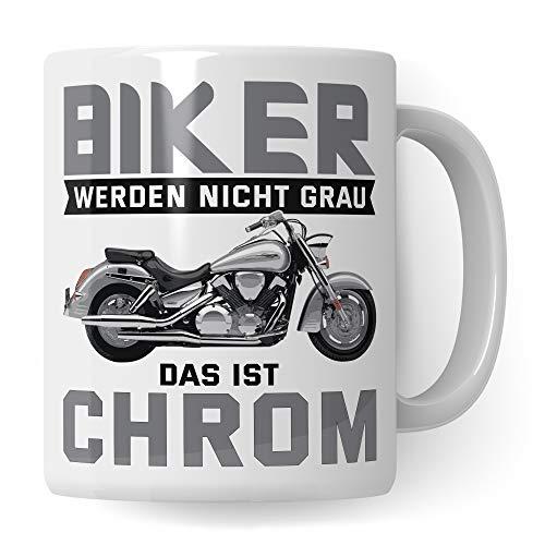 Pagma Druck Motorrad Tasse Rentner Alter Mann, Motorrad Geschenke für Männer lustig, Becher Geschenkidee für Motorradfahrer, Motorradtour Kaffeetasse Kaffeebecher