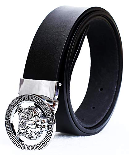 Old John Leather Men's Luxury Gold/Silver Tiger Buckle 35-mm Italian Leather Belt (105cm/41.3inch(34-36), Black Silver)