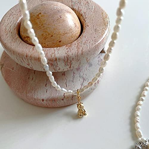 ShSnnwrl Colgante Collar de Cadena de clavícula de Perlas con Colgante de Oso Creativo de Plata de Ley 925 para Mujer, Regalo de