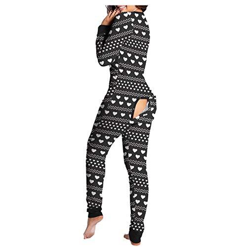 Panpany Einteiliger Schlafanzug,Pyjama-Set für Damen Button Down Front Funktionsoverall mit Geknöpfter Klappe Jumpsuit Overall Schlafanzug Pyjama Set Sleepwear Winter Langarm Nachtwäsche
