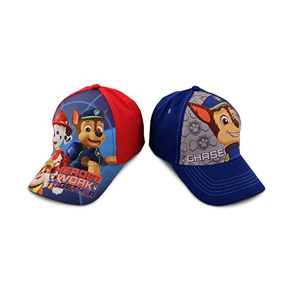 Kids Baseball Cap for Boys Ages 2-7, Paw Patrol Pack of 2 Little Kids and Toddler Baseball Hat