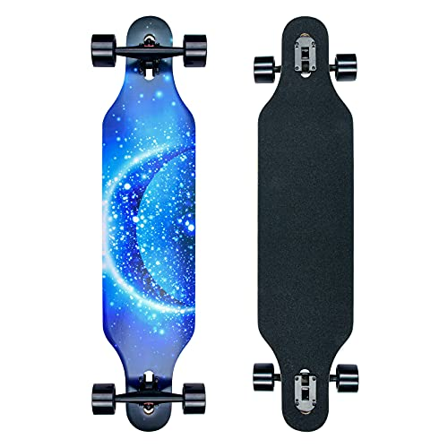 41 Zoll Drop-Through Longboard Komplettboard, Ahornholz Skate Boards für Carving Freestyle und Downhill