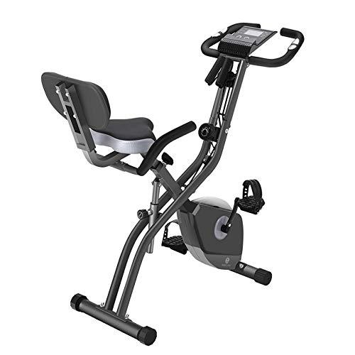 Ejercicio Bicicleta 10 Niveles de resistencia magnética ajustable, plegables y silenciosas, con banda de resistencia al brazo, pantalla LCD, utilizada for la bicicleta de entrenamiento aeróbico en cas
