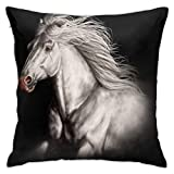 White Running Wild Horse BlackThrow Fundas de almohada con cremallera oculta Fundas de almohada Soft White Running Wild Horse Fundas de almohada negras para sofá, cama, patio, hotel, 18 x 18 pulgadas