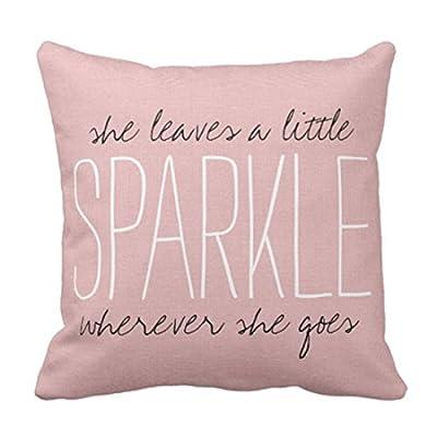 Emvency Throw Pillow Cover Cute Burlap Pink Sparkle Monogram Decorative Pillow Case Home Decor Square 16 x 16 Inch Pillowcase