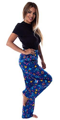 Disney Women s Lilo And Stitch Junk Food Soft Touch Cotton Plush Loungewear Pajama Pants M Blue