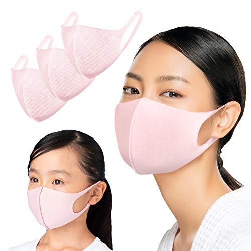 Duerfusa【Amazon限定ブランド】3枚組 洗える ひんやり マスク UVカット 吸汗速乾 メッシュ ムレない 大人 サイズ ピンク…