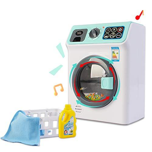 """deAO Juego Infantil de Lavandería""""Hora de la Colada"""" Incluye Lavadora de Imitación con Efectos de Luz y Sonido y Accesorios (Blanco)"""