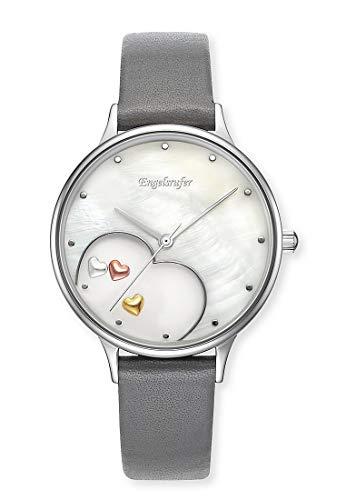 Engelsrufer Unisex Analog Quarz Uhr mit Leder Armband ERWA-HEART-LGY1-MS