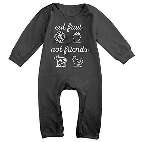 TOPDIY Eat Fruit Not Friends Long Sleeve Baby Bodysuit Bodysuit