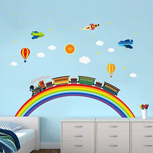 ufengke Adesivi Murali Arcobaleno Treno Adesivi Muro Razzo Aereo per Camere da Letto Bambini Ragazza Soggiorno Decorazioni Parete