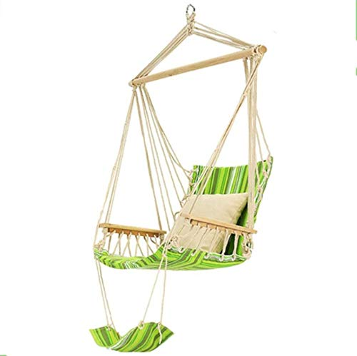 UKLLYY Ultralight Portable Folding Chairs, Deluxe Tree Hammock Chair Swing, Cotton Canvas and Wood Material, Maximum Load Capacity is 150Kg, Safety Comfortable, for Outdoor Camping Family Garden