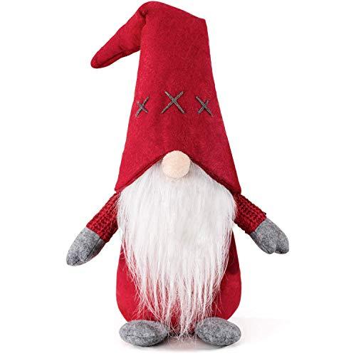 HabiLife Handmade Swedish Tomte Gnomes, Christmas Gnome Decorations Santa Figurines Elf Plush Doll Xmas Home Table Ornaments Kids Birthday Present - 19 Inches Red