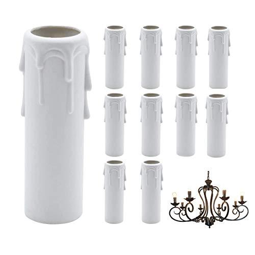 CHENKEE 20 pzs Mangas de Goteo de Velas 30 x 100 mm Cubiertas de Velas de plástico Blanco Tubos Mangas Pared Lámparas Colgantes Accesorios de Reemplazo para la Mayoría de los Portalámparas Repuesto