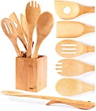 Neet Elevated Wooden Spoons For Cooking 6 Piece Organic Bamboo Utensil Set With Holder Wood Kitchen...