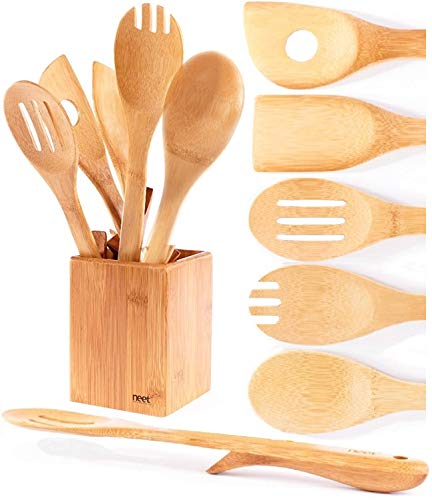 Neet Elevated Wooden Spoons For Cooking 6 Piece Organic Bamboo Utensil Set With Holder Wood Kitchen Utensils Spatula Spoon For High Heat Stirring In Nonstick Pots & Pans Quality Gift & Everyday Use