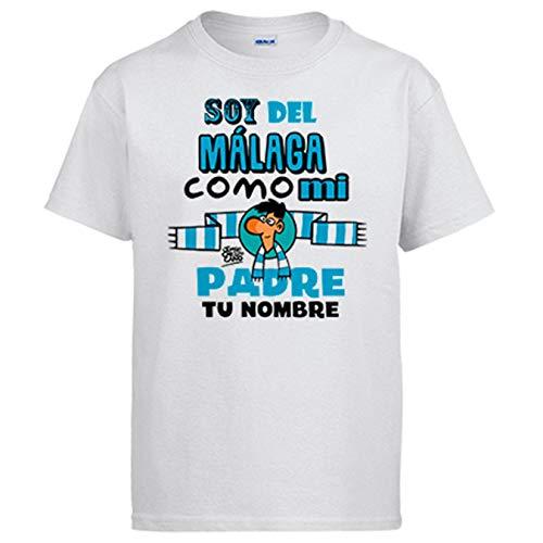 Camiseta Soy del Málaga como mi Padre Personalizable con Nombre ilustrado por Jorge Crespo Cano - Blanco, 7-8 años