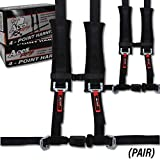 4 Point Harness with 2 Inch Padding (Ez Buckle Technology) (Black (Pair))