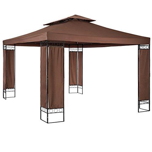 TecTake 800724 Garten Pavillon 390 x 290 x 265 cm, stoffbezogene Eckelemente, UV-beständig und wasserabweisend - Diverse Farben - (Braun | Nr. 403273)