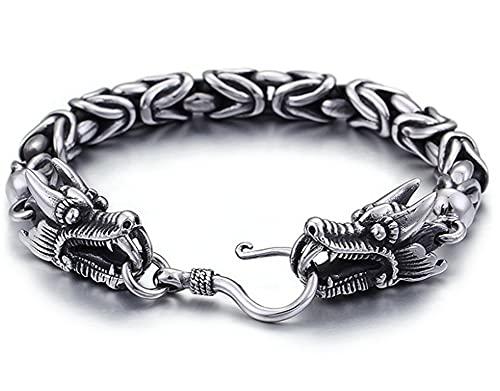 CHXISHOP Pulsera de acero de titanio para hombre, de acero inoxidable, retro, con personalidad y estilo gótico, joyería de tendencia de 20 cm